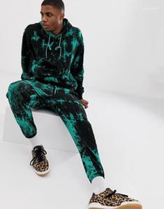 Fatos Outono Inverno com capuz Hoodies Calças 2pcs Sets Vestuário Ternos Mens 3D tingido laço