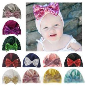 11 couleurs paillettes bow perle nylon chapeau hiver chaude sertissage nouveau-né garçons filles casquettes chapeaux de laine