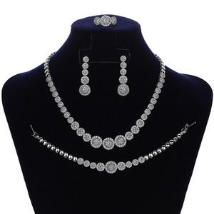 Conjuntos de Jóias HADIYANA Graceful Mulheres casamento nupcial Brincos Colar Anel e pulseira Set CN083-1 Parure Bijoux Femme Mariage