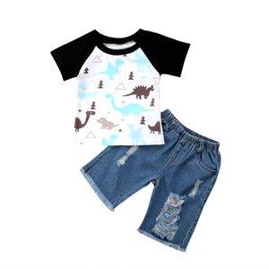 2ST Kleinkind- Jungen-Dinosaurier-Druck Kurzarm T-Shirt + Denim-Loch-Hosen-Outfit mit kurzen Hosen Größe 1-6Y