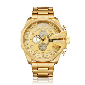 جميع ساعات ذهبية قطاع الفولاذ الكوارتز الأعمال الرجال DZ العسكرية الرياضة ساعة اليد هدية ساعة Montre أوم Zegarek Meski