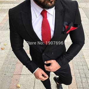 Classic Peak Lapel Wedding Tuxedos Slim Fit Suits For Men Groomsmen Suit Two Pieces Prom Formal Suits (Jacket+Pants+Tie) W123