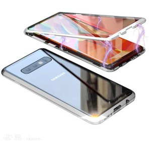 2020 Slim Magnetic Adsorption Metal Frame with Built-in Magnet Flip Clear Tempered Glass Cover for Samsung Galaxy S10 Case