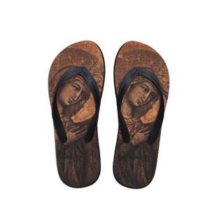 Spiaggia di moda estate Infradito donna sandali dei pistoni della pittura di arte di stampa Lady pattini degli appartamenti Duccio di Buoninsegna Artista