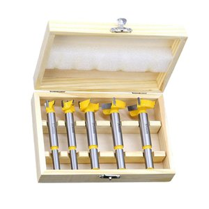 5x Professional Alloy Forstner Drill Bit Hole Saw Cutter Woodworking Bit Set Yellow