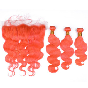 Pérou Orange pur Virgin Hair Trames avec Dentelle Frontal Fermeture 13x4 vague de corps Orange Colored cheveux humains 3 Bundles avec Full Lace Frontal
