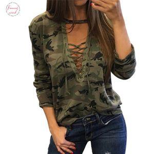 2018 Women Camouflage Sweatshirt V Neck Hoodies Pullovers Female Long Sleeve Bandage Tracksuits Jumper Tops Sudaderas Mujer