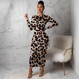 Leopard Print Designer Womens Casual Vestidos Moda magro vestidos das mulheres manga comprida Primavera Outono fêmeas Roupa