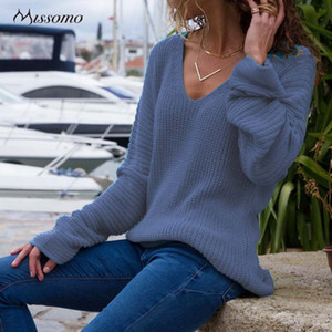 MISSOMO Herbst-Winter-Pullover Strickpullover Women Casual Langarm-Pullover mit V-Ausschnitt Pullover Tops Pull Femme Hiver sweter 11