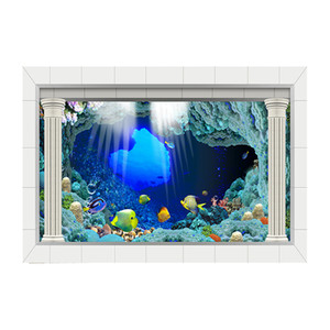 3D Underwater World Backdrop Aquarium Under Sea, TV Wallpaper Vinyl Photography Background Kids Children Party Photo Studio Props 30x61cm