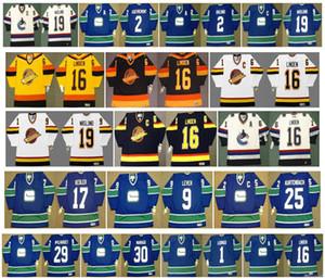 Vintage Vancouver Canucks Jersey 1 Roberto Luongo 2 jocelyn guevremont 16 Linden 9 DON LEVER 25 orland kurtenbach 17ryan kesler CCM Hockey