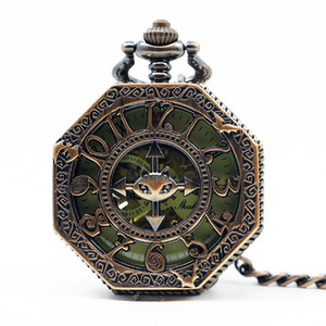 New Red Bronze Retro Vintage Classic Arabic Number Mechanical Pocket Watch With Fob Chain PJX1267