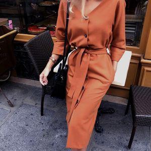 AprilGrass Brand Designer Sexy V Neck Autumn Long Sleeve Women Dress Ladies Sashes Button Casual Office Dress Women Midi Dress Vintage