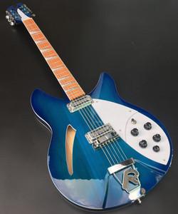 Редкие 12 струн Trans Blue Semi Pollow Code Electric Guitar Gloss Лак для розового дерева, 2 пикапы тоста, два выходов