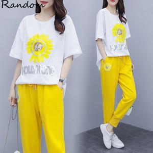 Femmes Plus Size 4XL Daisy Sport Costume Femme T-shirt haut et le pantalon deux pièces Sportwear Survêtement Assortiment Big Summer Cloth