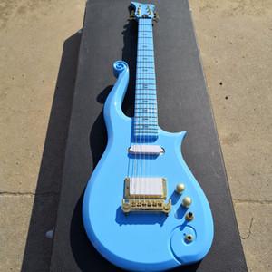 Diamond Series Prince Cloud Angel Blue Guitar Electric Electric Guitar Corpo Older, Neck in Acero, Symbol Inlay, Coperchio di asta del capriata in oro, cornice avvolgente arround
