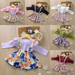48 Renkler Bebek Kız Giysileri Set Tulum + Askı Etek Çiçek Baskılı 2 ADET Butik Ins Sonbahar Uzun Kollu Romper