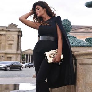 Seamyla 2019 nueva llegada elegante del mono de las mujeres de moda un hombro Capa partido de la celebridad del mono largo verano