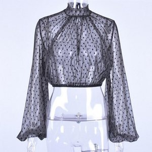 Polka Dot Lantern Women Blouse Fashion Casual Transparent Tops Ladies Puff Sleeve Summer Mesh Sexy See Through Printed