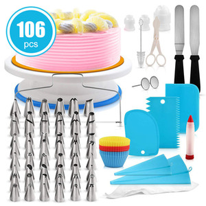 106Pcs / Set Kek Dekorasyon Takımı Boru Nozullar Buzlanma İpuçları Cupcake Spatula kaşağı Kek Turntable Pişirme Aracı JK2005KD Malzemeleri