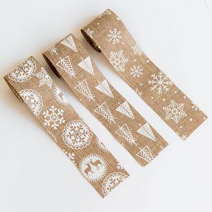 Estilo Árvore de Natal da fita Decoração de Natal de linho Neve Ribbon Folding e yq00669 Snowflake Elk fita Padronização