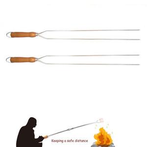Brochettes BBQ viande bâton BBQ Grill fourchette effilé avec poignée en bois extérieur overlong rôti Camping en acier inoxydable Outils de poulet BBQ