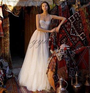 Venta caliente Vestidos de novia Correas espaguetis Apliques de encaje Playa Simple Tallas grandes Vestidos de novia largos Por encargo vestito da sposa