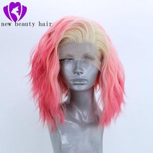 Hochtemperaturfaser 360 Frontal kurze lose Wellen-volle Haar-Perücken ombre rosa Farbe synthetische Spitze-Front-Perücke für Frauen mit freien Teil