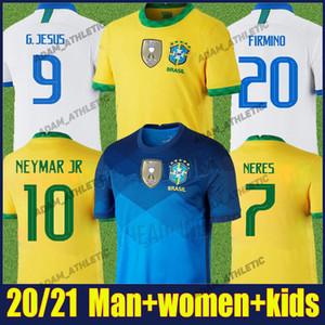 كوبا أمريكا 2020 البرازيل لكرة القدم جيرسي فيرمينو NEYMAR JR قميص كرة القدم الاطفال عدة P.COUTINHO كاسيميرو موحدة camisa البرازيل 2020 الأنثى