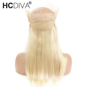 Cierre frontal de encaje de 360 preseleccionado con cabello de bebé Remy recto humano de 613 color rubio de 10-20 pulgadas de encaje transparente frontal