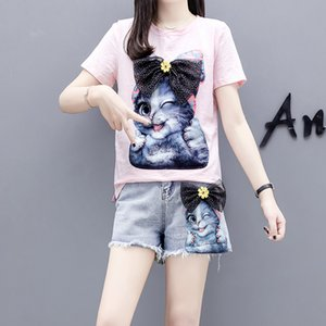 HAMALIEL M-4XL Plus Size Donna Cartoon Cat Pattern Diamanti Cotone Magliette + Jeans corti 2pz Set + Denim Pantaloncini corti Tute
