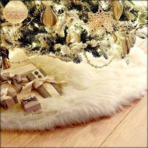 Blanc en peluche de Noël Jupe Arbre Tapis grande Snowy White fausse fourrure Tapis de Noël Décorations Nouvel An ornements 48 pouces JK1910