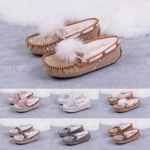 Luxury Winter WGG Australia Peas Shoes Women Designer Casual Shoes Chestnut Black Pink Grey Leather for Ladies Size 35-40