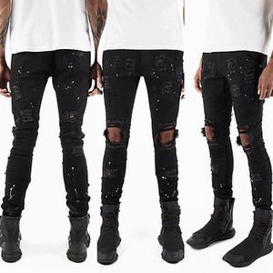 CANIS Hombres Jeans Stretch destruido rasgado Diseño blanco de punto tobillo de la manera de la cremallera Vaqueros ajustados jeans rasgados para los hombres