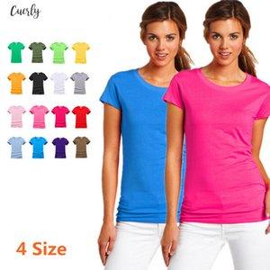2020 New T Shirt Women Summer Cotton Crop Tops Tshirt Womens Solid Color T Shirt Femme Blusa Short Camiseta Short Sleeve T