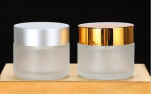Temizle 100g / 100 ml cam krem kavanoz kozmetik toplu emülsiyon krem şişe şeffaf / altın gümüş kapaklar ile don cam kavanoz