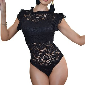 Suits Feminino Ruffles manga curta Lace corpo Tops Mulheres oco Out Sexy Erotic Romper macacões magro Club Party Bodysuit GV233