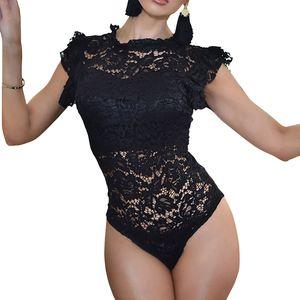 Feminino оборками с коротким рукавом кружева Body Suits топы женщины выдалбливают сексуальные эротические ползунки комбинезоны тощий клуб партии боди GV233