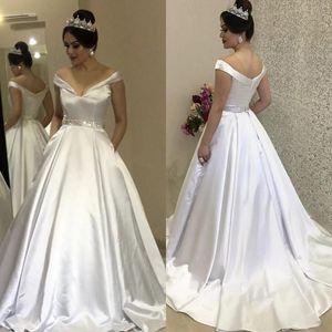 Arabic Satin A-Line Wedding Dresses Off The Shoulder Beaded Sash Bridal Gowns Sweep Train Garden Wedding Dress abiti da sposa B64