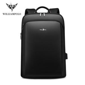 Sac à dos pour ordinateur portable WilliamPolo Hommes Homme Sacs à dos pour ordinateur portable d'affaires Mochila USB étanche Sac à dos Sacs Charging Voyage Bagpack