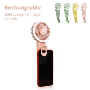 Hot selling cool Cartoon mini fan Light supplement USB rechargeable fan pocket U-shape phone clip foldable selfie stick charging fan
