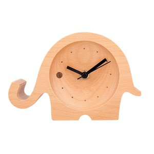 Solid Wooden Elephant Alarm Clock Children Kids Bedroom Wood Crafts Table Decor Gift