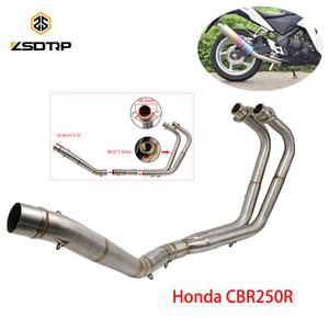 Exhaust ZSDTRP motocicleta aço inoxidável Sistema Mid Tubo Ligação Ligação Tubo Para CBR250R 2018-2019 Mid Exhaust Pipe Tube