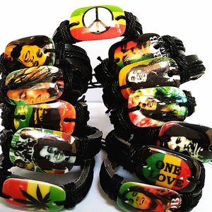 Brand New 24 pcs Bob Marley Manchette Bracelets Jamaïque Reggae Rasta Pu Bracelet En Cuir En Vrac Beaucoup Pour Hommes Femmes Unisexe J190707