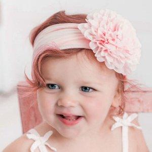 Новорожденные ребёнки нейлон Прекрасные диапазона волос младенца Цветочные шифон цветок Stretch головная повязка Дети \ 's Headdress