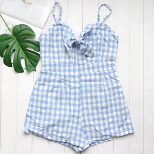Women Jumpsuit Casual Cami Rompers Sexy Beach Light Blue Plaid Sleeveless V-Neck Short Loose Wide Leg Sweet Mono Azul Mujer