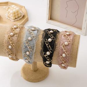 1 piezas de la cadena de Corea mujeres del diseño de la perla de la venda de la cruz de encaje elástico de la anchura del nudo banda para el cabello accesorios para el cabello joyería