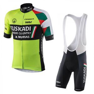 Alta qualità 2019 uomini Pro Team Euskadi Cycling Jersey Set manica corta Quick Dry 3D GEL imbottito MTB Bike Abbigliamento Maillot Ciclismo Y022104