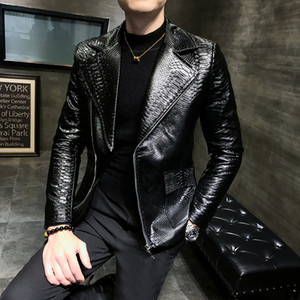 Terno bonito CollarLeisure Zipper Faux Leather Jackets Men Vestuário Turn Down gola do casaco Imitação jacaré solto Masculino