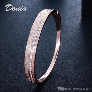 Donia jewelry two color electroplating exaggerated micro inlay zircon Adjustable Bracelet personality geometric pattern party birthday gift